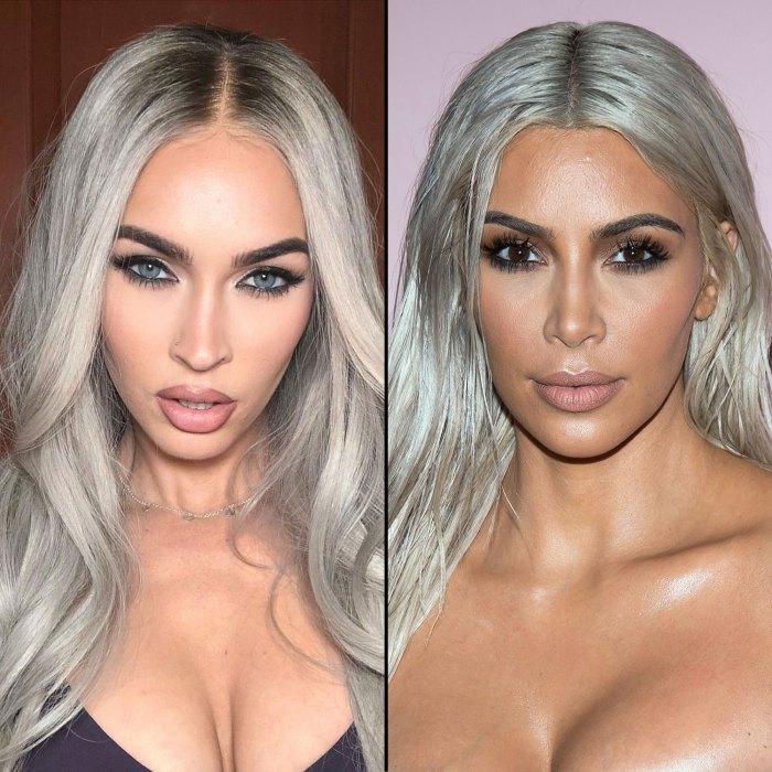 Megan Fox has Silver Gray Hair that is Comparable to Kim Kardashian