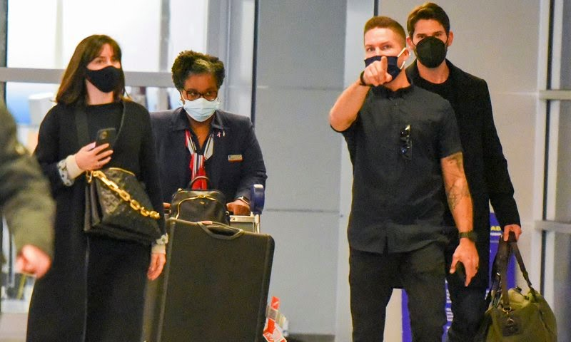 Ana de Armas and her boyfriend Paul Boukadakis were spotted at John F. Kennedy International Airport